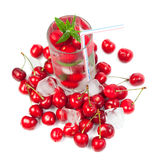 Cherry cocktail with ice and mint Stock Photography