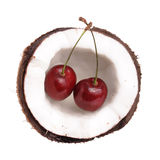 Cherry in coconut Royalty Free Stock Photo