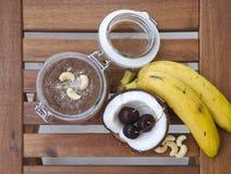Cherry coconut banana overnight oats Royalty Free Stock Photos