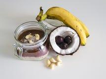 Cherry coconut banana overnight oats Royalty Free Stock Photography