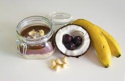 Cherry coconut banana overnight oats royalty free stock image