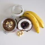 Cherry coconut banana overnight oats Stock Images