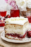 Cherry and coconut layer cake Stock Photos
