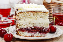 Cherry and coconut layer cake Stock Photo
