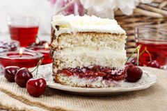 Cherry and coconut layer cake Royalty Free Stock Photo