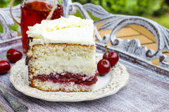 Cherry and coconut layer cake Stock Photography