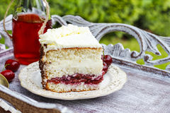 Cherry and coconut layer cake Stock Images