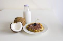 Cherry coconut pancakes Royalty Free Stock Image
