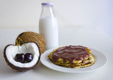 Cherry coconut pancakes Royalty Free Stock Images