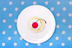 Cherry cookie. Delicous cherry cookie served on white plate. Top view Royalty Free Stock Photos