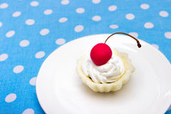Cherry cookie. Delicous cherry cookie served on white plate Stock Photos