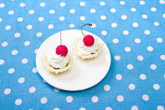 Cherry cookies. Delicous cherry cookies served on white plate Stock Photography