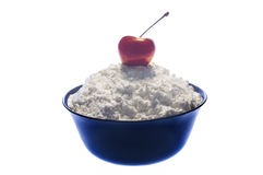 Cherry and cottage cheese Stock Images