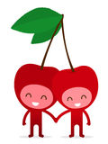 Cherry couple holding hands. A pair of friendly fruit, cherry, holding hands on white, illustration cartoon characters Royalty Free Stock Images