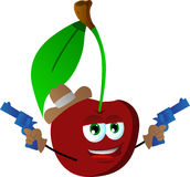 Cherry cowboy with gun Stock Images