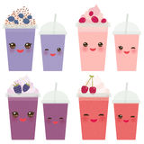 Cherry Cranberry Blueberry Blackberry Take-out smoothie transparent plastic cup with straw and whipped cream. Kawaii cute face wit Royalty Free Stock Photography