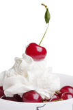 Cherry in cream Stock Image