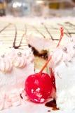 Cherry in cream cake Stock Photos