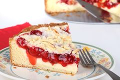 Cherry Cream Cheese Coffe Cake Stock Photography