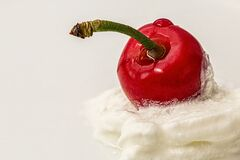 Cherry, Cream, Red, Dessert, Sweet Royalty Free Stock Photos