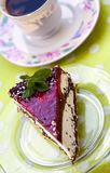 Cherry Cream Tart with Coffee Stock Photo