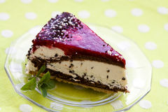 Cherry Cream Tart with Mint Stock Photography