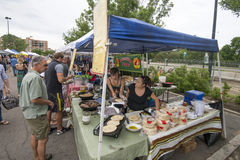 Cherry Creek Farmers Market. Some of the fresh food and produce available at the Cherry Creek Farmers Market in Denver, Colorado which is one of the larger stock images