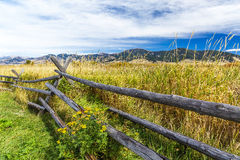 Cherry Creek Preserve. A rustic wooden fence at the edge of Cherry Creek Nature Preserve on the outskirts of Bozeman, Montana Royalty Free Stock Photography