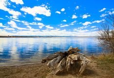 Cherry Creek Reservoir, Aurora Colorado. This is Cherry Creek Reservoir in Aurora, Colorado. The mountains in the background are the Rocky Mountains. The royalty free stock images