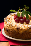 Cherry crumble cake. Homemade cherry crumble cake on the plate stock photography