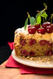 Cherry crumble cake Stock Photo