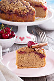 Cherry crumble coffee cake with cinnamon Royalty Free Stock Images