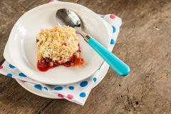 Cherry crumble with fresh cherries.  Royalty Free Stock Image