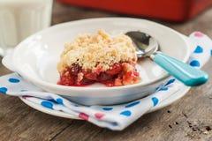 Cherry crumble with fresh cherries Stock Photo