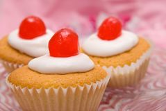 Cherry Cup Cakes Stock Photos