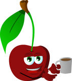 Cherry with a cup of coffee Royalty Free Stock Images