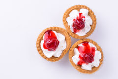 Cherry cup pie on white stock image