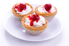 Cherry cup pie on white royalty free stock photos