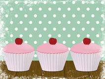 Cherry cupcake background Royalty Free Stock Photos