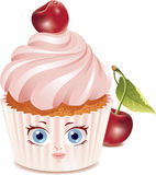 Cherry cupcake (character) Royalty Free Stock Photo