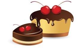 Cherry cupcake. A cherry cupcake chocolate illustration Stock Photo