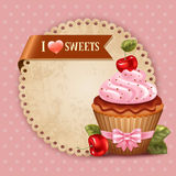 Cherry cupcake Stock Images