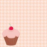 Cherry cupcake on houndstooth vector background. Cherry cupcake on white and pink vector houndstooth background Royalty Free Stock Photography