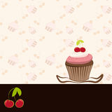 Cherry cupcake invitation card Royalty Free Stock Photo