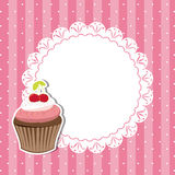 Cherry cupcake invitation card. On seamless pattern background royalty free illustration