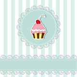 Cherry cupcake invitation card. On seamless pattern background stock illustration
