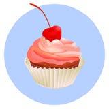 Cherry cupcake. Pink creamy glossy cake illustration. Vector pink cupcake vector illustration