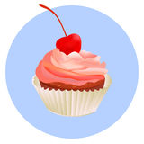 Cherry cupcake. Pink creamy glossy cake illustration. Vector pink cupcake Stock Image