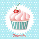 Cherry cupcake on a polka  dot background. Cartoon Cherry cupcake on a polka  dot background, vector illustration Stock Photos