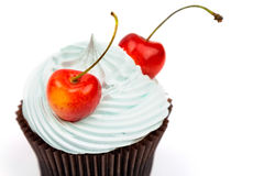 Cherry on cupcake, selective focus Stock Photos